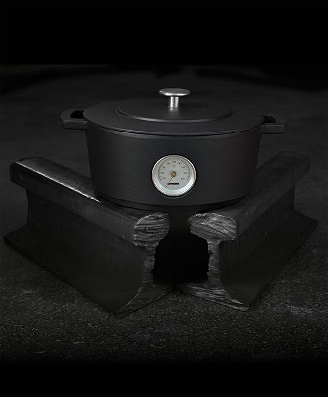 Dutch Oven con Termometro e Coperchio ø 24 cm - Combekk - Nero - dark gray