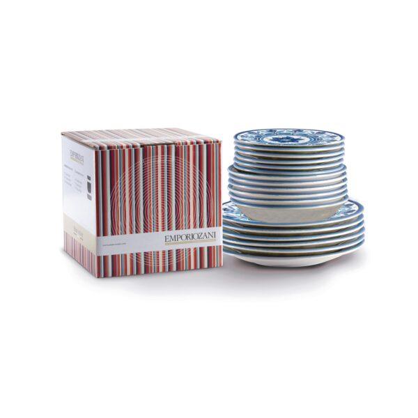 Servizio piatti 18 pezzi in ceramica - Havana Blu